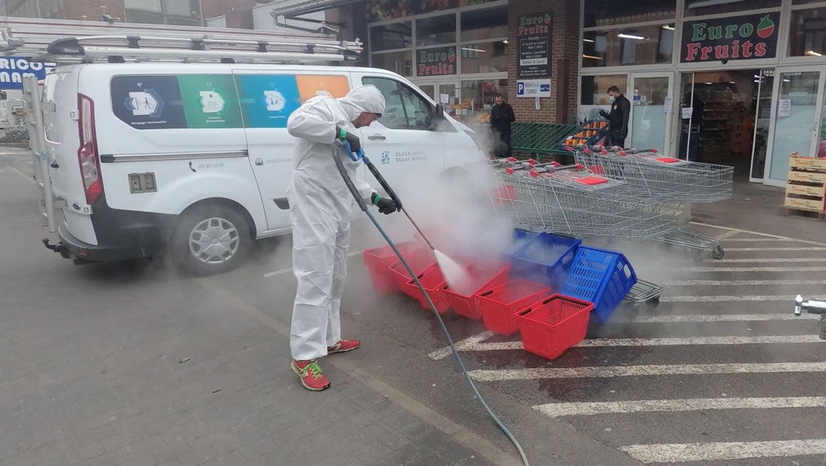 Désinfection de caddies au désinfecteur vapeur